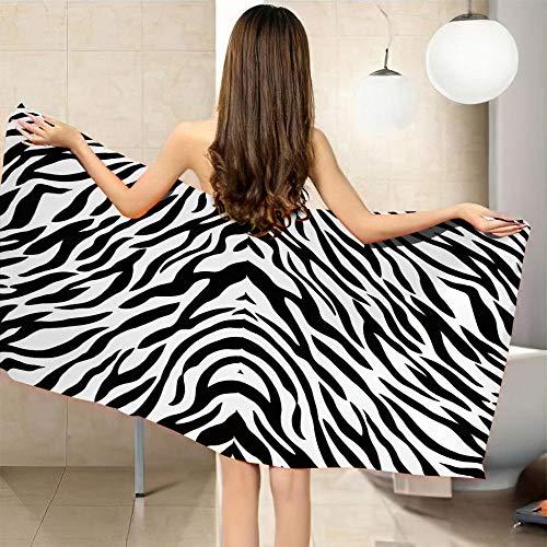 QHDHGR Toalla de Playa con impresión 3D Blanco y Negro y patrón Ideal para Playa y Piscina para Adultos y niños, súper Suave Absorbente 80 x 130 cm
