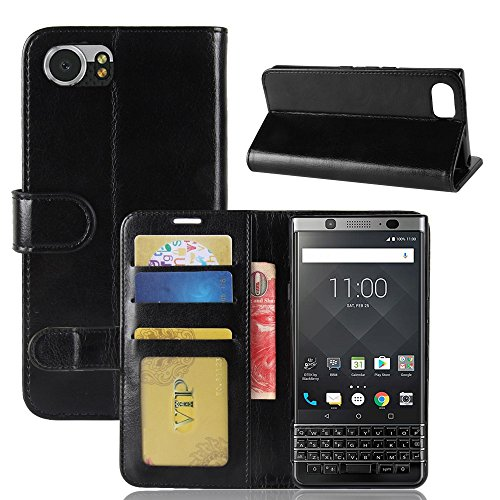 pinlu® Premium Geschäfts Art PU Leder Etui Schutzhülle Für BlackBerry KEYone Lederhülle Flip Hülle Brieftasche Mit Stand Function Innenschlitzen Design Schwarz