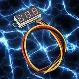 0.28 Pouces Affichage LED voltmètre 3 Fils DC voltmètre Haute Pression 0~100V Ligne d'alimentation de jauge pour vélos électriques pour Voitures d'enfants(Red)