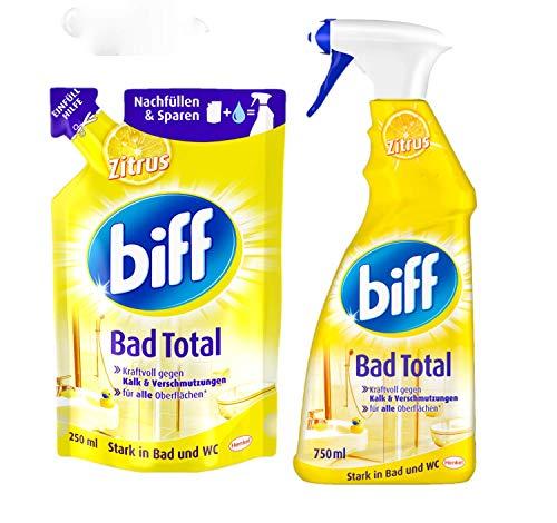 Biff Badreiniger SET Bad Total Zitrus Sprühflasche 750ml & Nachfüller 250ml