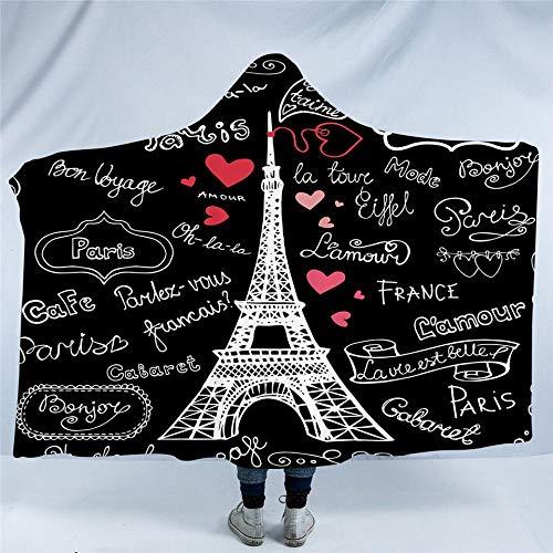HGTZ Couverture Lettres Romantiques Coeur Paris France Tour Sherpa Polaire Microfibre Couverture Throw Noir Literie