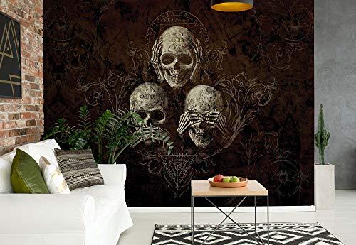 Nicht Hören Sehen Totenkopf Alchemy - Wallsticker Warehouse - Fototapete - Tapete - Fotomural - Mural Wandbild - (978WM) - L - 152.5cm x 104cm - VLIES (EasyInstall) - 1 Piece