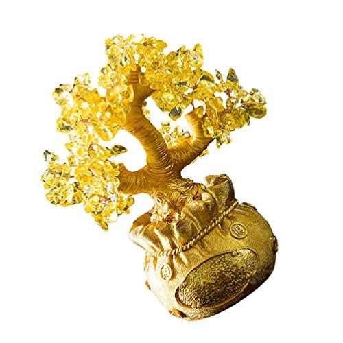 BESPORTBLE Decoração Árvore Fazer Dinheiro de Cristal Estilo Bonsai Feng Shui Ornamentos Parágrafo Boa Sorte Riqueza Home Office Dourado Tamanho S