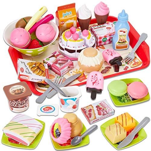 Buyger Alimentos Juguete DIY Corte de Frutas Helado Tarta Cumpleaños Juguete con Utensilios de Cocina para Niños 3 4 5 6 Año