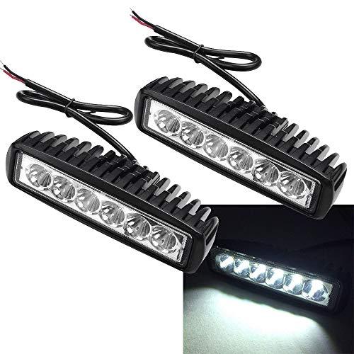 2 x 18W LED Arbeitsscheinwerfer 1620 Lumen Weiß Scheinwerfer 12V 24V Offroad Flutlicht Reflektor Worklight Arbeitslicht SUV UTV ATV Arbeitslampe, Traktor, Bagger