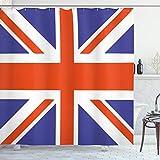 ABAKUHAUS Union Jack Duschvorhang, Britisches Loyalsymbol, mit 12 Ringe Set Wasserdicht Stielvoll Modern Farbfest & Schimmel Resistent, 175x200 cm, Königsblau Weiß Rot