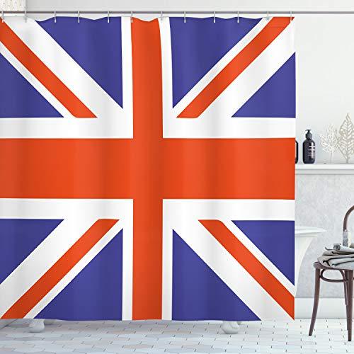 ABAKUHAUS Union Jack Duschvorhang, Britisches Loyalsymbol, mit 12 Ringe Set Wasserdicht Stielvoll Modern Farbfest & Schimmel Resistent, 175x220 cm, Königsblau Weiß Rot