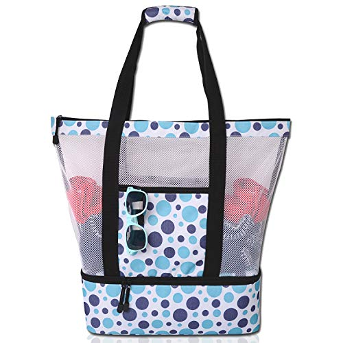 Mesh Beach Tote Bag with Insulated Cooler Compartment, Extra Large Pool Picnic Cooler Bag with Zipper Closure, Top Handle Beach Handbag for Women (Polka Dot)