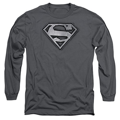 Superman Duct Tape Shield Unisex Adult Long-Sleeve T Shirt for Men and Women, 2X-Large Charcoal