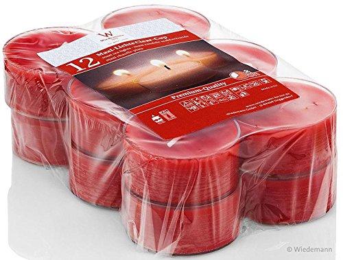 MAXI-Teelichte im PC Cup, transparent. 2,1 x 5,6 cm. 12 Stück WIEDEMANN rot RUBIN-093