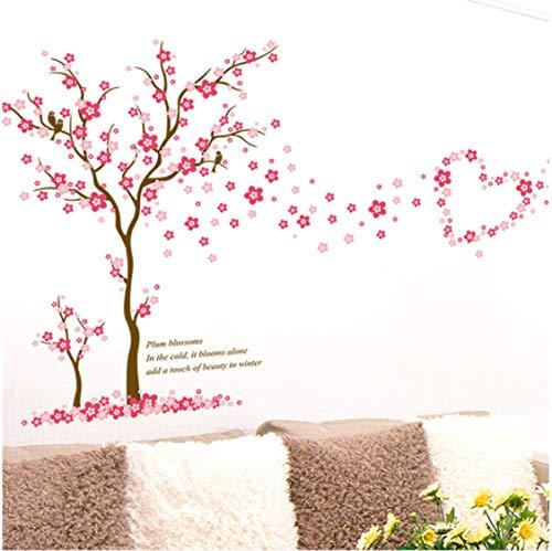 Rosa Ciruela Flor Árbol Amor Pegatinas De Pared Pvc Sala De Estar Dormitorio Decoración De Fondo Mural Arte Calcomanías Decoración Del Hogar Pegatina 3D