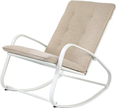 OC Orange-Casual Patio Furniture Rocking Chairs with Removable Paded Beige Cushion, Outdoor & Indoor Metal Rocker, White