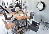 Junado Baumkantentisch Quarto 160 x 85 cm aus Akazie-Holz naturfarben, Esszimmertisch mit schwarz lackierten Beinen, Baumtisch - 4
