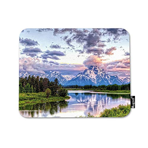 Mugod Mountain Nature Mouse Pad Grand Snowy Mountains Lake Tree Landscape Green Blue Mouse Mat Non-Slip Rubber Base Mousepad for Computer Laptop PC Gaming Working Office & Home 9.5x7.9 Inch