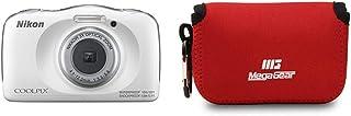 Nikon COOLPIX W150 Kamera, Weiß & MegaGear MG793 Nikon Coolpix W100, S33 Ultraleichte Kameratasche aus Neopren   Rot