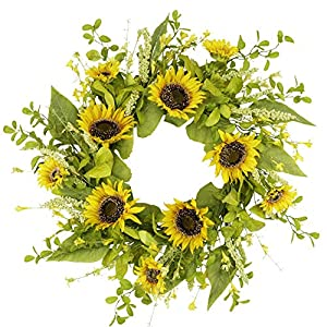 20 Inch Artificial Sunflower Wreath Spring Summer Wreath for Front Door Flower Wreath with Green Leaves for Home Wedding Window Wall Decorations
