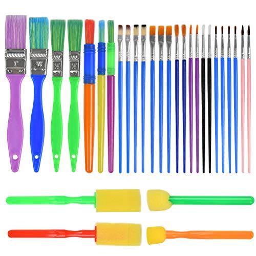 HONMIED 30 Pinceles para Pintar, Juego de Pinceles Acuarela Profesionales Pinceles de Pintura Acrílica y Al óleo, Pinceles de Esponja, kit de Pintura para Niños Artistas