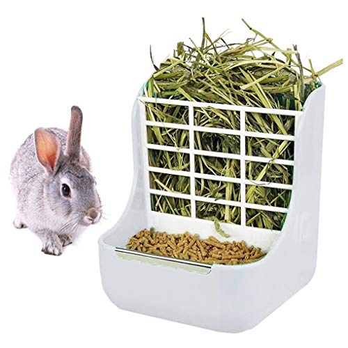 QSLQYB Rabbit Feeder Bunny Guinea Pig Hay Feeder, Hay Food Bin Feeder, Hay and Food Feeder Bowls...