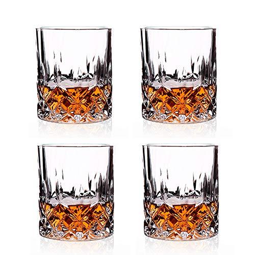 MINGZE Bicchieri Da Whisky, Ultra Clarity Senza Piombo Trasparenti Accessori In Cristallo Chiarezza Glass, Per Vino, Whisky, Cocktail, Bourbon, Succo Di Frutta, Vodka (Set Di 4 Lusso, 210ML)