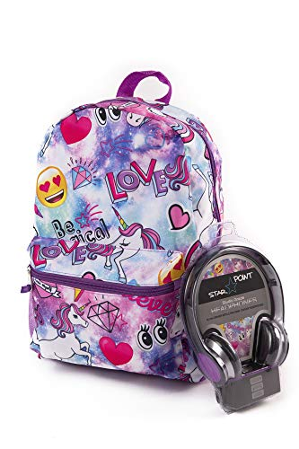 Unicorn Backpack for Girls with Headphones – Large, 16 inch, Girls School Backpack Set