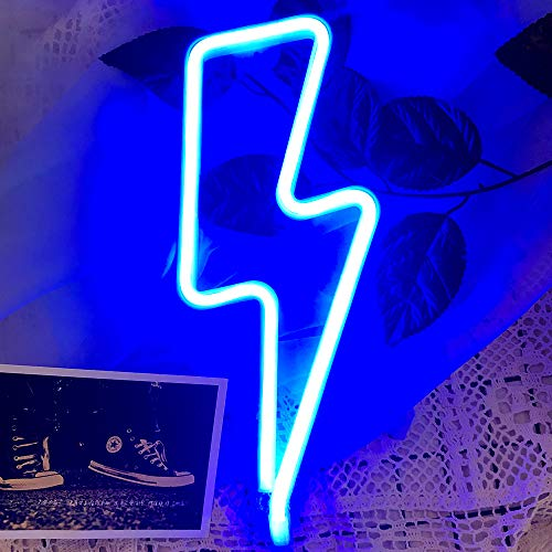 Protecu Lightning Bolt Neon Lights, Neon Signs for Wall Decor, LED Signs for Bedroom, USB and Battery Neon Light Sign for Birthday, Christmas, Home Party, Kids/Girls Room Decorations (Blue)