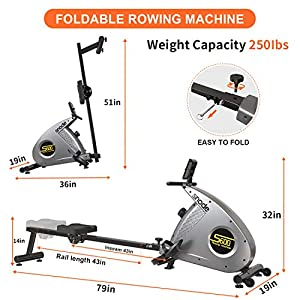 SNODE Foldable Rowing Machine with Magnetic Resistance - Indoor Compact Folding Rower Exercise Equipment for Home Use with LCD Monitor, 12 Level Adjustable Resistance, Soft Seat, Phone Holder