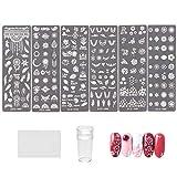 NICENEEDED Nail Art Stamping Kit con 6 Uds, Placas para Uñas, Plantillas de Sellos para Uñas, 1 estampadora de Uñas, 1 raspador de Uñas con Placas de Imagen de Patrones de Hojas