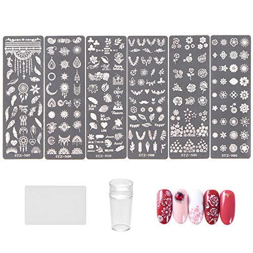 NICENEEDED Kit per Timbri per Unghie Con 6 PCS Modelli per Timbri per Unghie, 1 Stamper per Unghie, 1 Raschietto per Unghie Con Motivi di Foglie di Fiori Piastre per Immagini