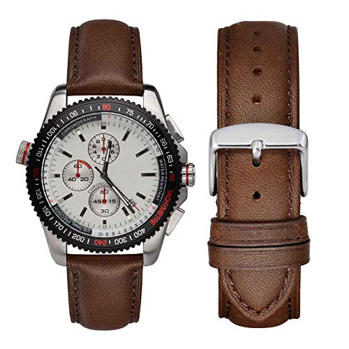 WOCCI 22mm Watch Band - Vintage Leather Watch Strap Dark Brown (Tone on Tone Stitching)