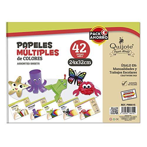 Quijote Paper World Bloc de Papel Multiples, Cartulinas, Charol, Seda, Celofán, C.Metalizadas,...