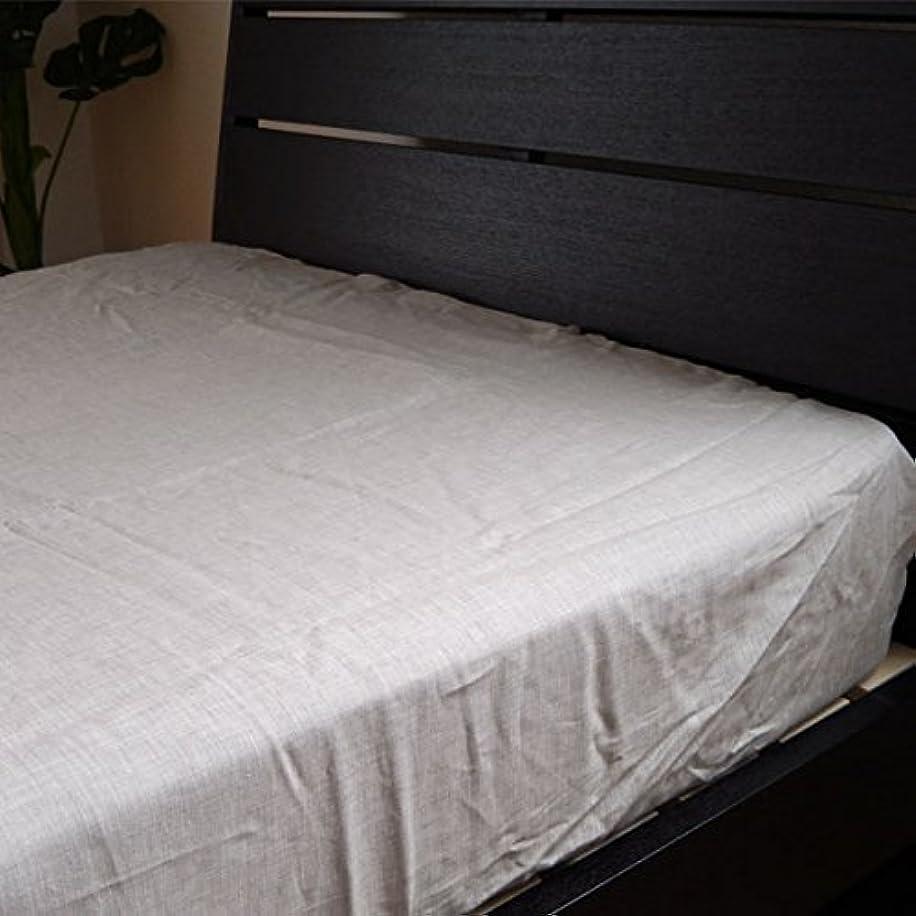 スマイルカーフペア日本製 肌触りのよい【麻】リネン100%ベッド用ボックスシーツ シングル(100×200×30cm) ベージュ