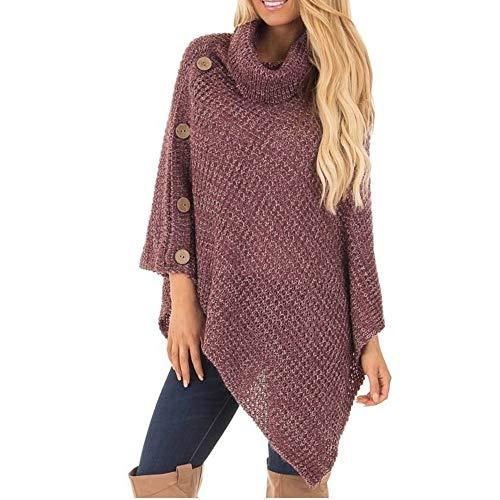 Damen Oberteile MYMYG Damen Strick Rollkragen Poncho mit Knopf Unregelmäßige Saum Pullover Pullover Herbst und Winter Sweatshirt(rot,EU:42/CN-2XL)