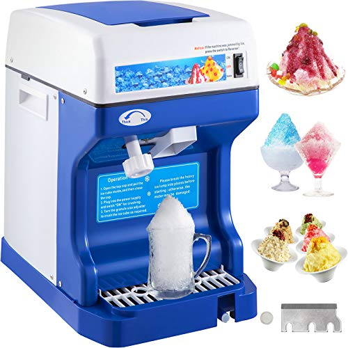 VEVOR 110V Electric Shaved Ice Crusher, 250W Snow Cone Maker Tabletop w/Adjustable Ice Texture, Ice...
