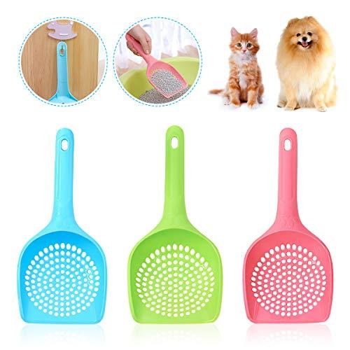 BoloShine Streuschaufel, 3 Stück Plastiksieb Schaufel Haltbare Katzentoilette Schaufel, Multifunktional katzenstreuschaufel für Kitty Katzen Haustiere