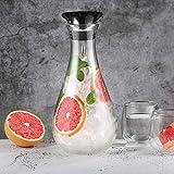 Glastal 1.8L Glaskaraffe Glaskrug aus Borosilikatglas Wasserkrug Wasserkaraffe Glas mit Edelstahl Deckel Karaffe Glaskanne - 8