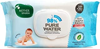 Mother Sparsh 98% Water Wipes (80 Scented Baby Wipes)