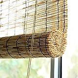 Persianas de Bambú Decoración Retro,Cortina de Caña Natural Tejido A Mano,Cortinas Opacas,Persiana Enrollable de Bambú,Estores Plisadas Impermeables,para Exterior,Interiores (100x140cm/39x55in)