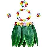 Gooidea Ti Leaf Hula Skirt Hibiscus Flower Leis Luau Party Supply Hawaiian Lilo Costume
