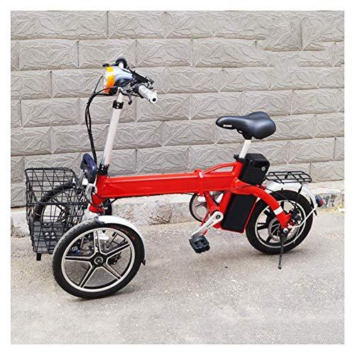 MMJC Erwachsene Zusammenklappbares Elektro-Dreirad, Inverted Dreirädrige Elektrofahrzeug-Multi-Funktions-One-Button Cruise Tragbare Komfortable Anti-Rutsch-Elektroroller,Rot