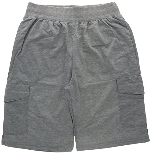 Marx & Dutch Men's Cotton Blend Cargo Shorts, Six Pockets, Drawstring Waist (Medium, Grey)