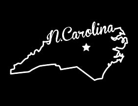 Decals Home Decor & More ND372W State of North Carolina Script Decal Sticker   5.5-Inches By 2.7-Inches   Premium Quality White Vinyl