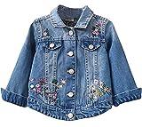 Little Big Girls Kids Classic Flower Embroidered Denim Jacket Coat 5-6 Years