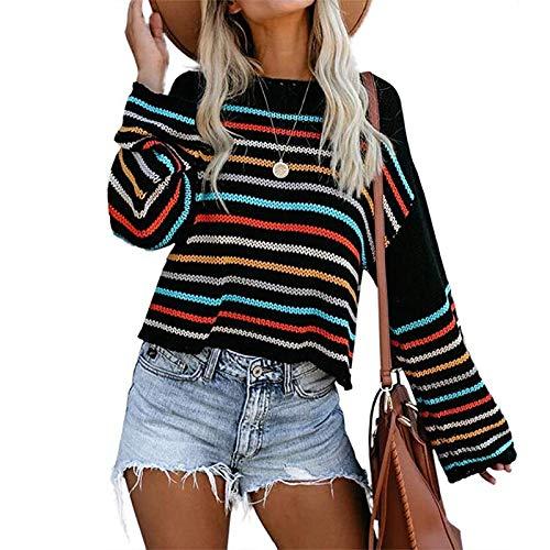 Avsvcb Suéter de Rayas de Colores para Mujer otoño Comercio Exterior Ropa de Mujer suéter sin Tirantes de un Solo Cuello Americana