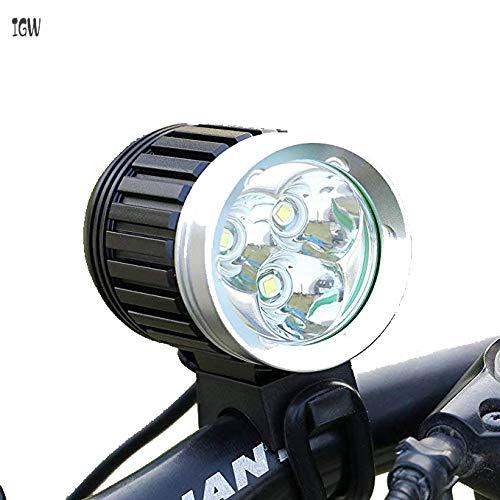 IGW Leichter für Bici Lighter MTB 3X CREE XM -L T6 3600LM 4 Modus wiederaufladbar mit nachfolgendem Radfan (Black)