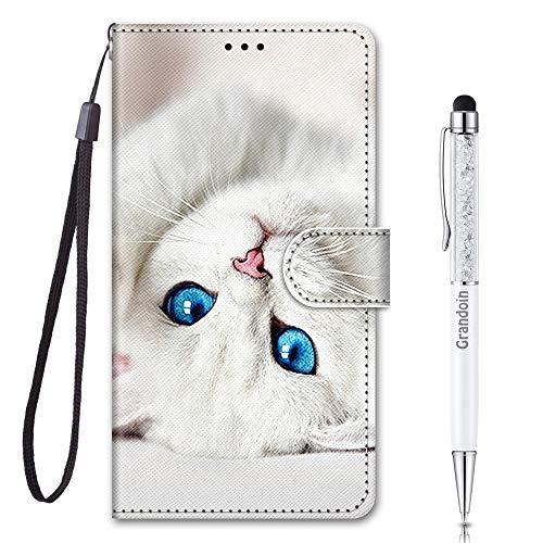 Grandoin für Samsung Galaxy M31 Hülle, Handyhülle im Brieftasche-Stil, Handytasche PU Leder Flip Cover 3D Muster Bunte Muster Book Hülle Case Schutzhülle für Galaxy M31 (Weiße Katze)