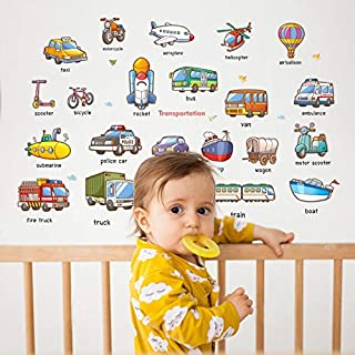 Removable Car Airplane Train baby early education English wall stickers kindergarten kids room wall creative home decoration