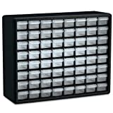 Akro-Mils 64 Drawer 10164, Plastic Parts Storage Hardware and Craft Cabinet, (20-Inch x 6-Inch x 16-Inch), Black (1-Pack)