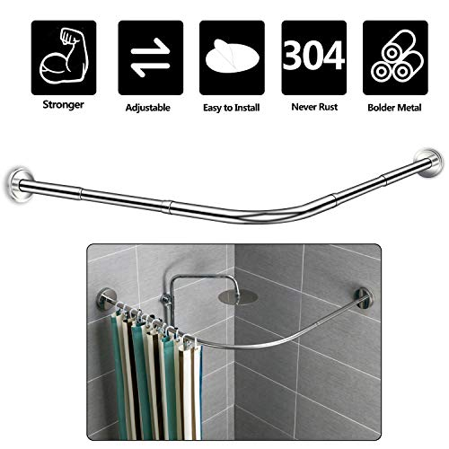 NiUB5 Curved Shower Rod-L Shaped Shower Curtain Rod-Corner...