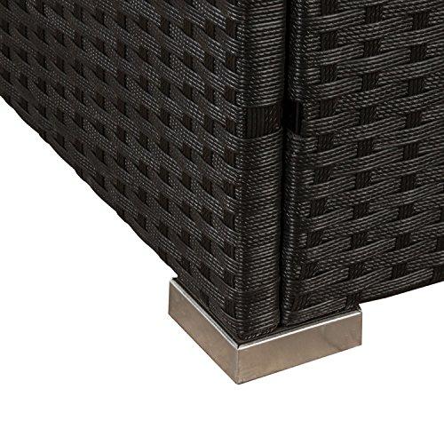 ArtLife Polyrattan Lounge Nassau schwarz | Gartenmöbel-Set mit Ecksofa & Tisch | dunkelgraue Bezüge | Sitzgruppe für Terrasse & Wintergarten - 6
