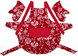 Stephanie Imports Red Floral Adult Kitchen Apron with Pockets & Oven Mitts